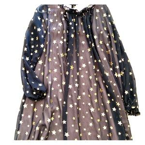 Girls Kate Spade black and gold star dress